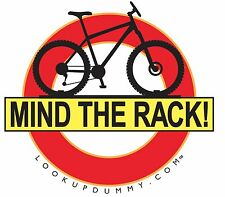 MIND THE RACK - Bike Roof and Rear Rack Warning Windshield Window Cling Reminder