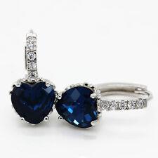 925 Sterling Silver Dangle Heart Cubic Zirconia Women Drop Earrings Blue Color