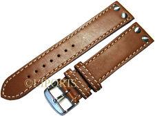Flieger Uhrenarmband Pilot Uhrenband dickes Leder braun Naht weiss Uhrband 22mm
