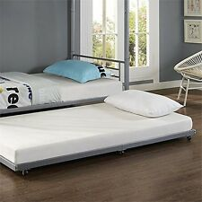 WE Furniture BT40TBSL Silver Metal Roll-Out Twin Trundle Bed NEW