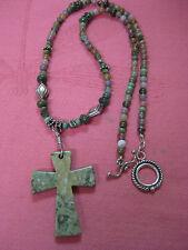 "Lovely tourmaline cross & sterling silver & gemstone beads 19"" necklace"