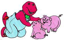 """7.5""""  BARNEY ON A  FARM ANIMAL PIG FABRIC APPLIQUE IRON ON"""
