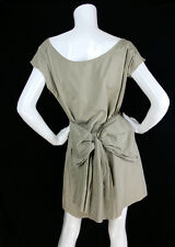 Lanvin Été 2010 Sz 38 Dress Beige Bow Detail Draped Ruched Boatneck