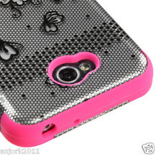 LG Optimus L70 Exceed 2 Realm Hybrid T Armor Case Skin Cover Lace Flowers Pink