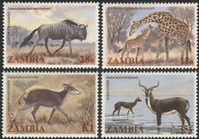 Zambia 1983 Giraffe/Wildebeest/Antelope/Animals/Wildlife/Nature 4v set (b4813)