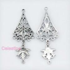 4 Tibetan Silver Chandelier Connector Links & Leaf Dangle 51mm NF LF Filigree