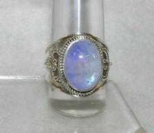 Rainbow Moonstone Balinese Oval Flashy Purple Ring Sterling Silver Size 7