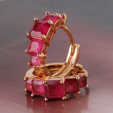Classical18K gold filled Princess Ruby lady band hoop earring
