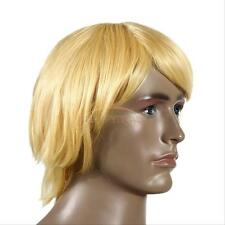 Men's Yellow Male New Short Wavy Wig Halloween Cosplay Party Prop Full Hair Gift