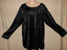 VTG 90s USA L Black Crushed Velvet Slouchy Oversize Tunic Top Shirt Grunge Goth