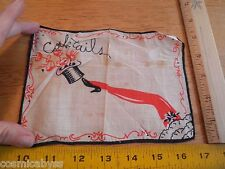 Vintage 1940's burlesque vanities cocktails cloth napkin