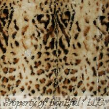 BonEful Fabric Fleece BTHY 1/2 Yd Brown Leopard Cheetah Wild Fur Skin Print Pile