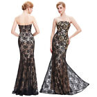 Lace Women's Sequins Masquerade Evening Ball Gowns Party Prom Dress Plus UK 4~18