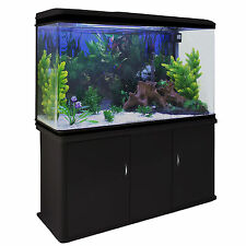 Fish Tank Aquarium Black Cabinet Complete Set Up Tropical Marine 300 Litre 4ft