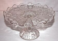 Vintage Pedestal Crystal Cake Plate ~ Scallop Edge ~ Beautiful Design 8.5""