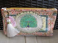 Starlet Peacock Papaya Art Vegan Small Makeup Cosmetic Pouch Bag Tassel Vegan