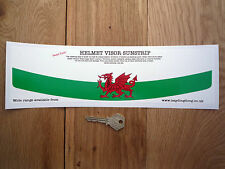 Welsh Dragón Rojo Bandera Casco Visor sunstrip pegatina carrera de coches Rally Bike Gales