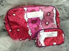 TRACY REESE for Clinique Tropical Floral Print 2 Pc Cosmetic Travel Bag Set- NEW