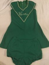 Vintage Cheerleader Uniform Green And White 2 Piece Dress Bloomers Small Waves