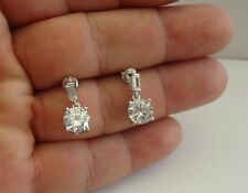 925 STERLING SILVER ROUND DANGLING EARRINGS W/ 6 CT DIAMOND /SIZE 17MM BY 7MM