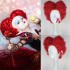Movie Alice in Wonderland Red Queen Wig Short Curly Red Color Cosplay Party Wig