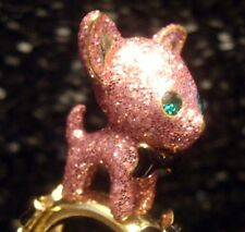 Betsey Johnson RARE Ring CHIHUAHUA Chiwawa Dog PINK GLITTER Stretch Band