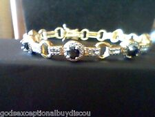 6.00 CTW SAPPHIRE & DIAMOND HALO  WEDDING TENNIS BRACELET 7 INCH  + GIFT