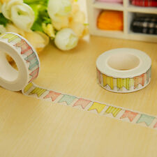 1X Colorful Flags Washi Tape DIY Paper Sticky Tools Adhesive Sticker Decor ZOP