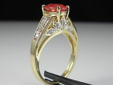 14K Mexican Fire Opal Diamond Ring Yellow Gold Orange Fine Genuine Oval Size 7