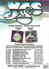 Yes 2016 Iconic Double Album Tour  Fragile 1971  &  Drama 1980 Concert Flyer