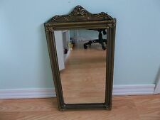 Vintage Antique Carved Wood Frame Gold Gilt Floral Design Etched Glass Mirror