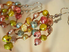 Vintage 80's Haute Couture Hand Knotted Genuine Pearl Pierced Earrings 533m7