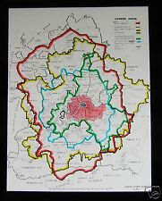 Glass Magic Lantern Slide MAP OF LONDON COUNCILS DATED 1939 ENGLAND