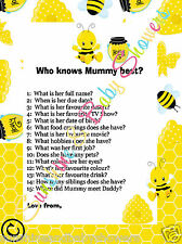 Baby Shower Game Who Knows Mummy Best  BUMBLE BUSY BEE 20 Sheets Players