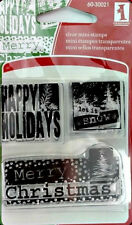 Inkadinkado Happy Holiday Greetings Clear Mini Stamp Snow    Buy ANY 3 Free Ship