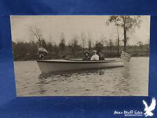 Wooden Motorboat Speed Power Inboard Engine 3 Men Water Lake River RPPC