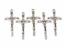 5 Pcs - 50mm Tibetan Silver Jesus Cross Charms Jewellery Pendant Religion O157