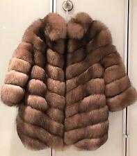 REAL Fur coat artic FOX color tortora sable S italian design russian make