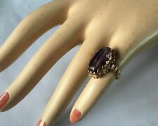 Stunning Antique 14K Gold & Large Amethyst Ladies Ring