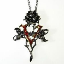Vampire Rose Flower Crystal Pendant Necklace Children of the Night CN16
