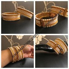Indian/Pakistani Bridal AdJustable Gold Pearl Bangles, Churi, size 2*6,2*8 &2.10
