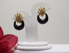 Christian Dior CLip Earrings Jewelry Black Enamel w/Crystals VTG. Signed