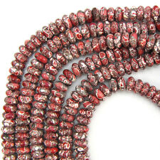 """10mm dk red mosaic flower turquoise rondelle beads 16"""" strand"""