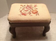 Vintage Three Mountaineers Wooden Stool with Cross Stitch Cushion Top