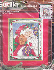 Counted Cross Stitch Kit:  I Believe In Santa  10 x 12 Picture or Pillow