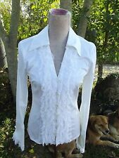 Escada Sz 34/ USA 2  White Cotton Button Down Blouse Shirt Lace Trim PRISTINE