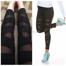 Womens YOGA Gym Sports Leggings Running Fitness Pants Stretch Workout Trouser M