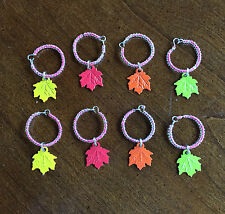 Set of 8 Metal Maple Leaf Wine Glass Charms 2 Red, 2 Green, 2 Orange, 2 Yellow