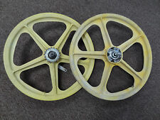 Yellow BMX Bike Mag Wheels Wheelset 20 inch Pair Yellow Coaster Brake Bicycle