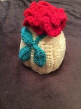 Baby Girl Cute Winter Warm Knitted Hat Baby Girl Kids Yellow With Red Flower